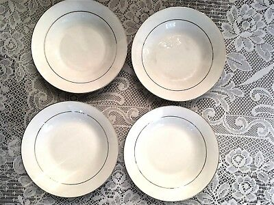 Four Brand New Lynns Fine China Soup Salad Cereal Bowls White w Gold Trim