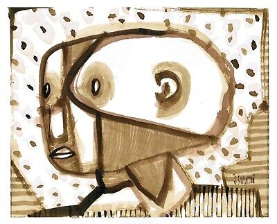THE ACTUAL abstract/folk/outsider? ink drawing/painting J.Swinton Canadian NR