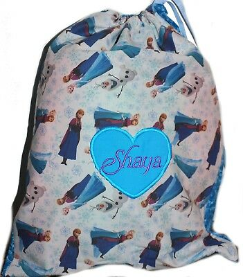 Kids Personalised Drawstring Library Bag - Frozen two tone -SML- First name FREE