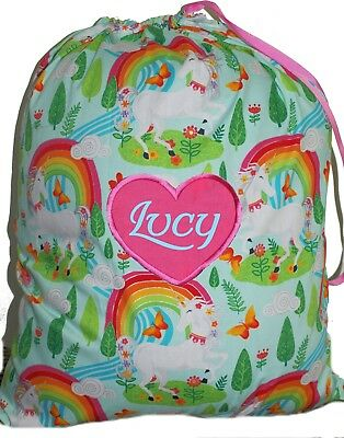 Kids Personalised Drawstring Library Bag - Unicorns Rainbows - First name FREE