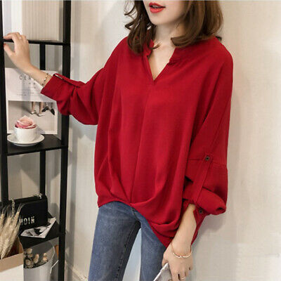 Plus Size Women Shirt Loose Slim Casual Solid Blouse Women V Neck Tops M-4XL: TW
