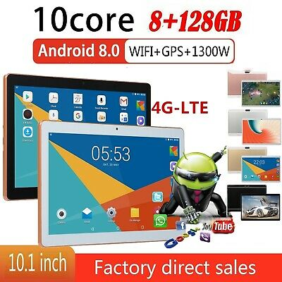 4G-LTE 10.1 Pollici 8+128gb Tablet Pc Bluetooth Android 8.0 10 Core Wifi 2 Sim