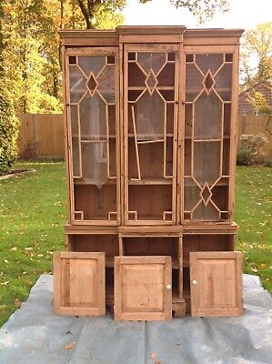 Very Large Antique Dresser, Victorian, Pine, Library Cabinet, Bookcase, c.1850