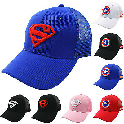 Kids Boys Girls Captain Superman Baseball Cap Canvas Sports Trucker Mesh Hats