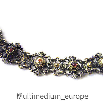 Historismus Neorenaissance Silber Collier Emaille Granat Tracht silver  necklace