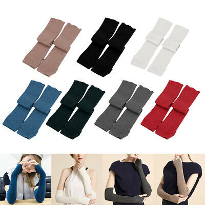 Women Knitted Arm Warmers Long Winter Warm Soft Fingerless Gloves Mittens 17