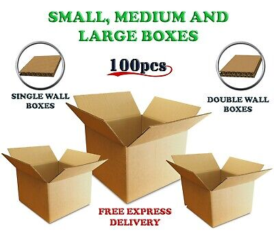 100pc Corrugated Cardboard Boxes Single Double Wall Small Medium Large Strong UK