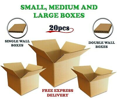 SET OF 20 SINGLE & DOUBLE WALL CARDBOARD Strong Postal BOXES Small Medium Large