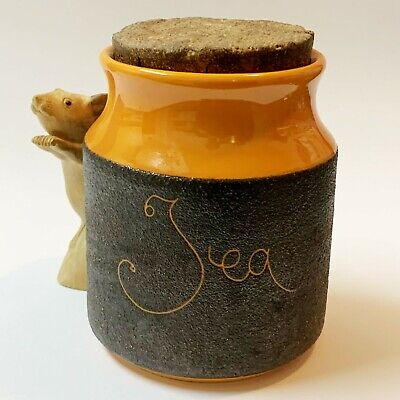 Hanstan Pottery Large Tea Canister with Cork Lid, Iconic Aussie Retro Vintage
