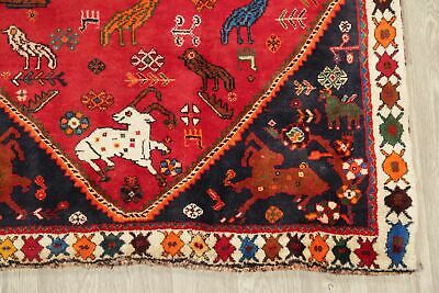 Vintage Tribal Animal Pictorial Abadeh Oriental Area Rug Wool Hand-Knotted 4x6