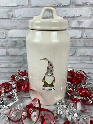 Rae Dunn Mischief Gnome Santa Canister 10 inches New