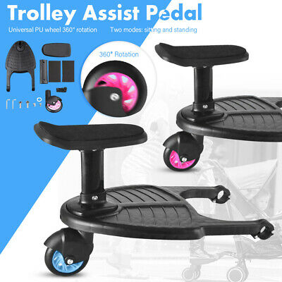 Universal Buggy Board w/ Seat Kids Stand Board Stroller Pram Pushchair Connector