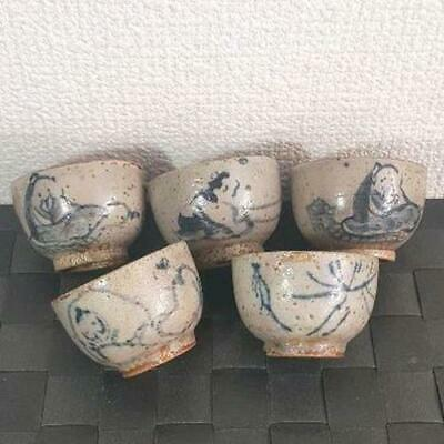 Chinese Antique Sencha Green Tea Utensils Tang people Fugetsu Small cup set of 5