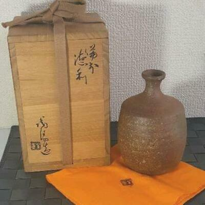 Japanese Antique Bizen-ware Tokkuri, Sake Bottle, Sake Server w/ signed Wood Box