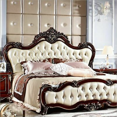 Genuine Leather Bed Classical American Style Wood Frame Furniture Double 1.8 m