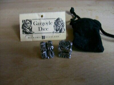 Pair Of Pewter Gargoyle Dice With Storage Pouch