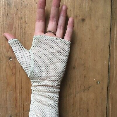 Vintage Lace Gloves Elbow Length White