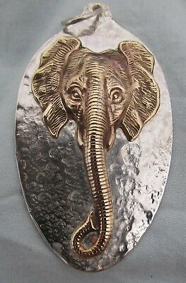 Recycled Vintage Sterling Silver Spoon Bowl Featuring Elephant Relief