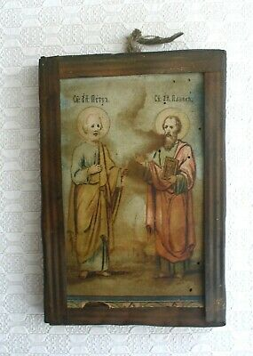 Antique 19c Orthodox Russian Lithoprind Icon St Peter and Paul