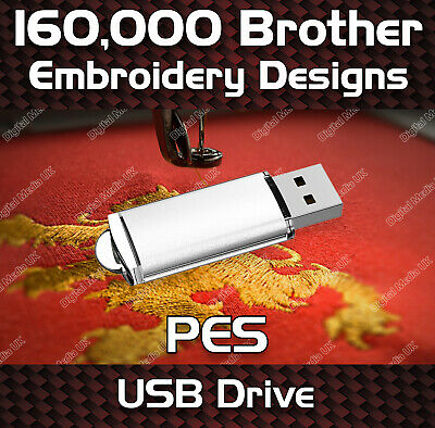 160,000 Brother embroidery pattern design files PES on USB drive