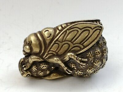 Collection Ancient Chinese Copper Carving Cicada Statue Pendant Decoration Gift
