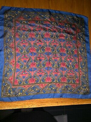 Vintage Liberty silk pocket square/handkerchief. Blue Grapevines Art Nouveau