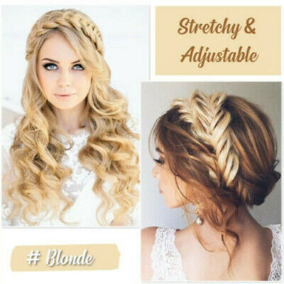 Ladies Braided Synthetic Plait Plaited Elastic Hair Band Headband Kylie Hairband