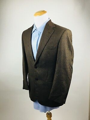 Mens Andrew Fezza 2 Button Houndstooth Single Vent Blazer Size 38R Lambswool