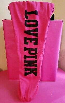 EUC VINTAGE 2010 Victorias Secret PINK SWEATPANTS BANDED SMALLS MAGENTA BLACK
