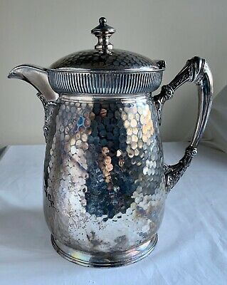 Antique Meriden Britannia Silverplate Pitcher Porcelain Lined Hammered 03961