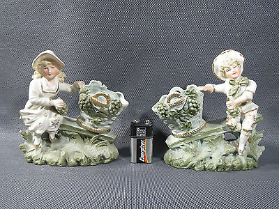 Pair of Pots Office in Biscuit Deco Vintage French Antique Pottery