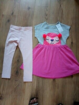 M&S kids girls pink dress & leggings 6-7 years new with tags.