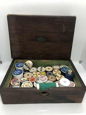 Vintage Wooden Sewing Box Cotton Inc 8x Sylko Polyester Tape Measure 5 Scissors