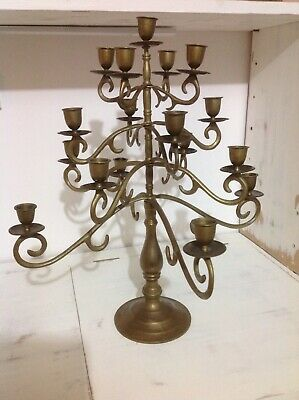 Vintage Solid Brass 17 Arm Candlebra...lovely & Heavy Quality.