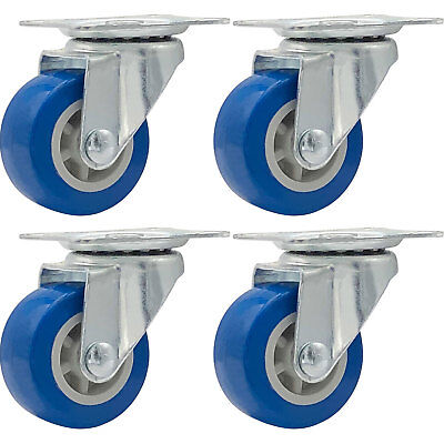 "Lot of 4, 1.5"" Low Profile Casters Wheels Soft Rubber Swivel Caster  BLUE"