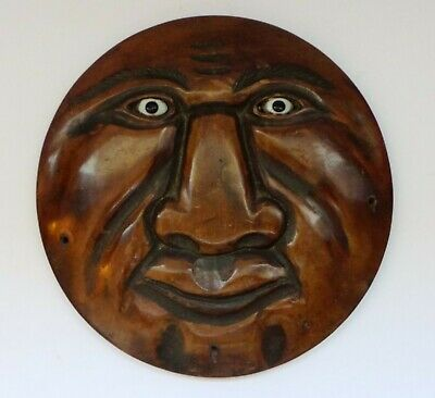 Antique Eastern / Asian Carved Wooden Moon Face Plaque -  Glass Eye's - Unusual