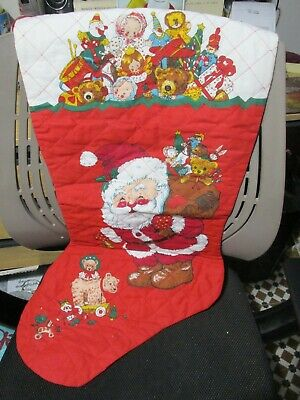 Vintage Quilted Large Christmas Stocking