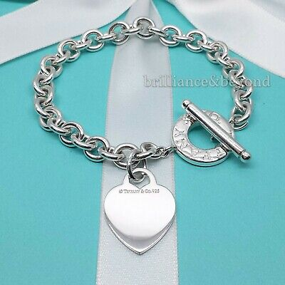 Tiffany & Co Heart Tag Toggle Charm Bracelet 925 Sterling Silver Authentic 8.25""
