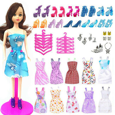 50pcs/set Barbie Doll Dresses, Shoes and jewellery Clothes Accessories Girl Gift