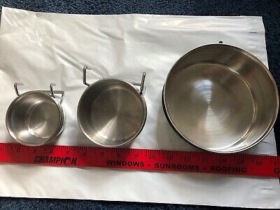 Stainless Steel Hanging Bowls Small Animals Birds Parrots