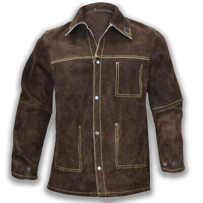 High Quality Cowhide Leather Welding Jacket / Tig Mig Welders Safety Jacket