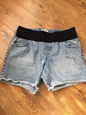 Ladies Maternity Ripped Shorts Size 12 New Look Summer Holiday Elastic Waist