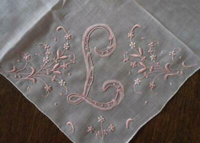 Vintage Madeira Wedding Hanky Monogram L Pink Embroidery Bridal