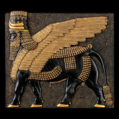Ancient Assyrian Khorsabad Winged Bull Sculpture Museum Replica Reproduction