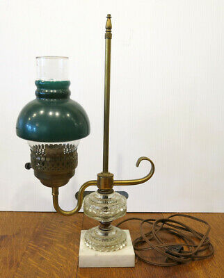 Vintage Green Shade Converted Brass Student Oil Lamp Glass on Marble Base