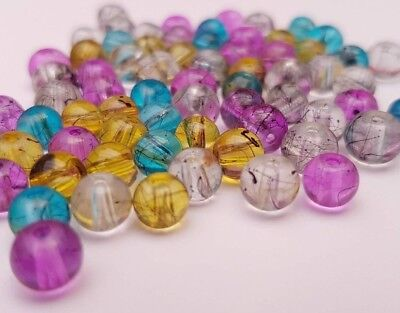 Translucent Oily Drizzle Drawbench Glass Beads - Various Colours (4mm 6mm 8mm)