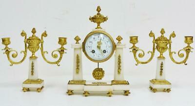 Small Antique French 19thC Empire 8 Day Bronze & Marble Portico Mantel Clock Set