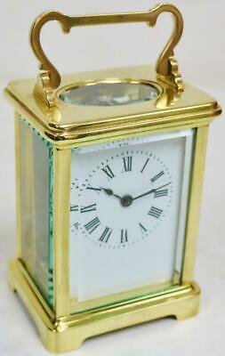 Wonderful Classic Antique French 8 Day Brass & Glass Timepiece Carriage Clock