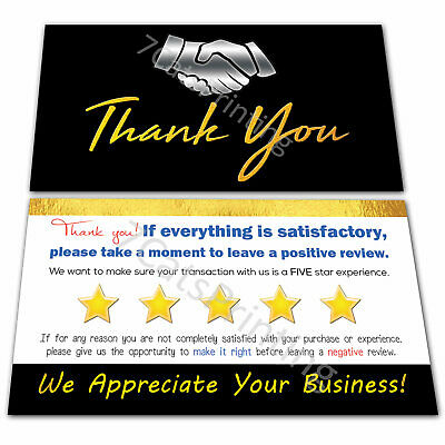 100 eBay Thank You Cards for Amazon Sellers Black Gold Business Professional