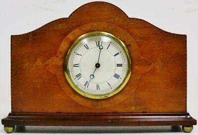 Antique French 8 Day Solid Mahogany Inlaid Mantel Clock Platform Escapement